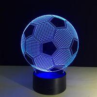 Coquimbo 3D Luce di Notte Lampada Da Tavolo Calcio Visivo Veilleuse Cambiamento di Colore Interruttore di Tocco di Telecomando Camera Da Letto Illuminazione 5 V 3 W