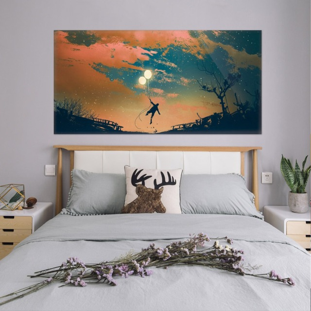 Beautiful Sky Balloon And Boy Wall Sticker Bed Head Stickers Kids Bedroom Wall Sticker Home Decor For Childrens Bedroom