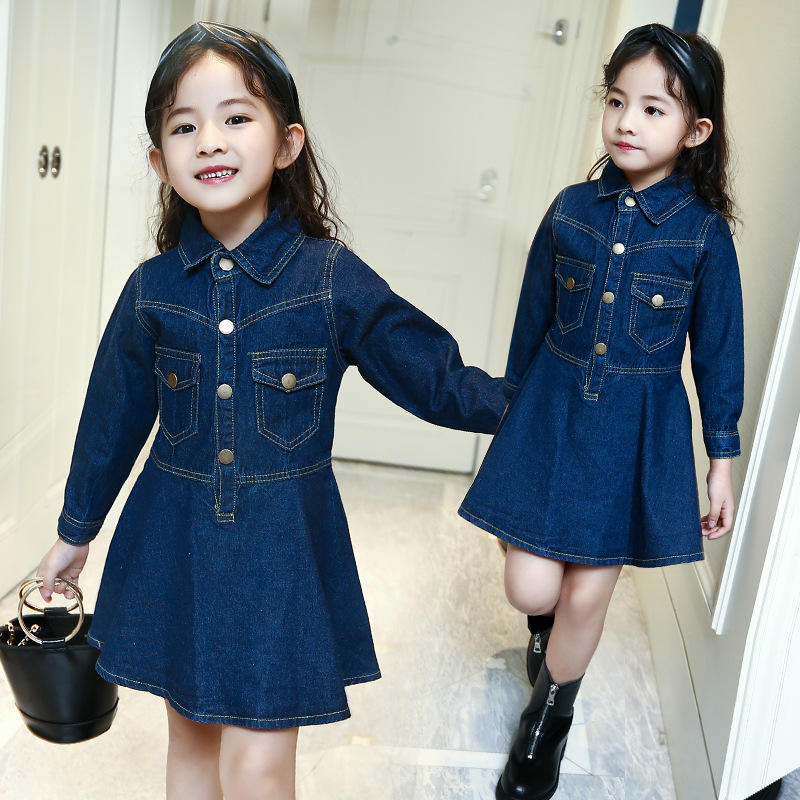 mini jeans dress girl clothes 2017 spring autumn children long sleeve a line dress denim blue kids dresses for girls clothing 2pcs children outfit clothes kids baby girl off shoulder cotton ruffled sleeve tops striped t shirt blue denim jeans sunsuit set