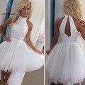 Brillante Blanco de Fiesta Vestidos de Cóctel Corto Halter Rebordear Cristalino de Tulle Formal Vestido de Las Mujeres