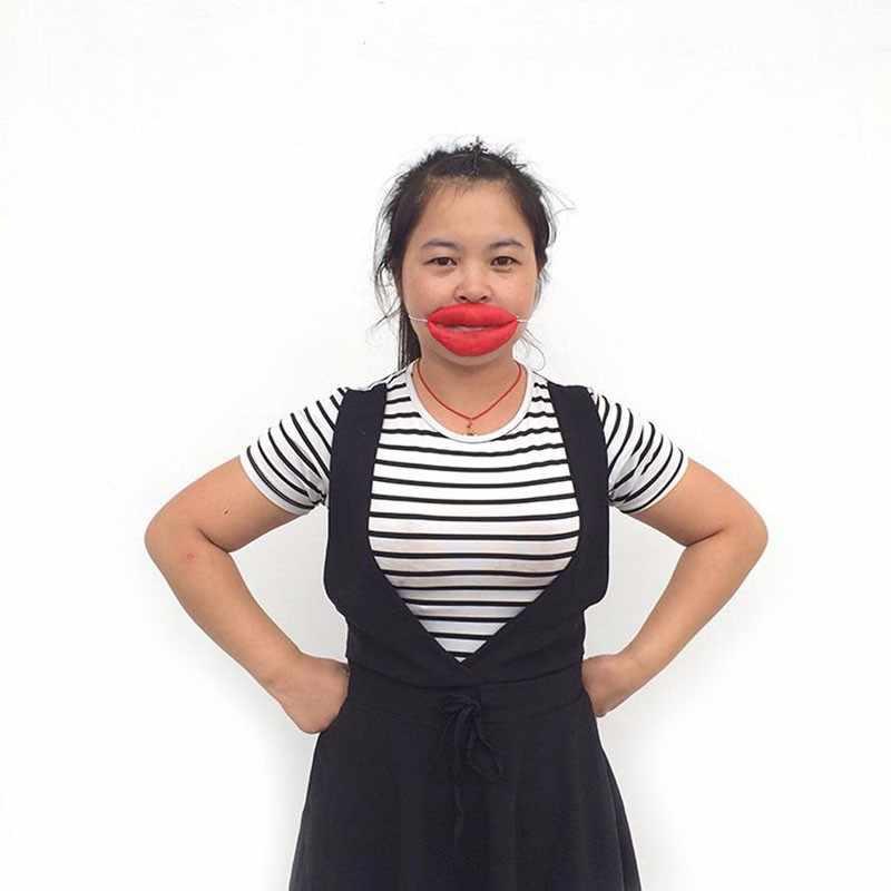 Nowe śmieszne prima aprilis żarty kiełbasa grube duże usta Halloween Horror maska lateksowa