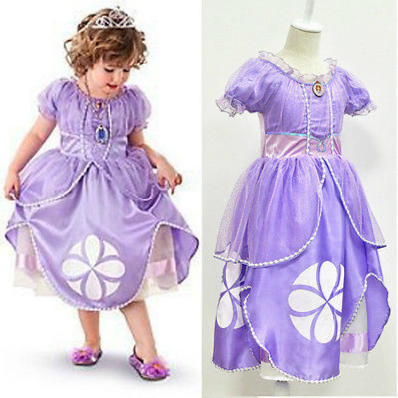 New Fancy Kids Baby Girls Purple Sofia The First Princess Costumes Cosplay Dress new zero two cosplay costumes 002 darling in the franxx dyesub printed zentai bodysuit women girls lady lycra female plugsuit