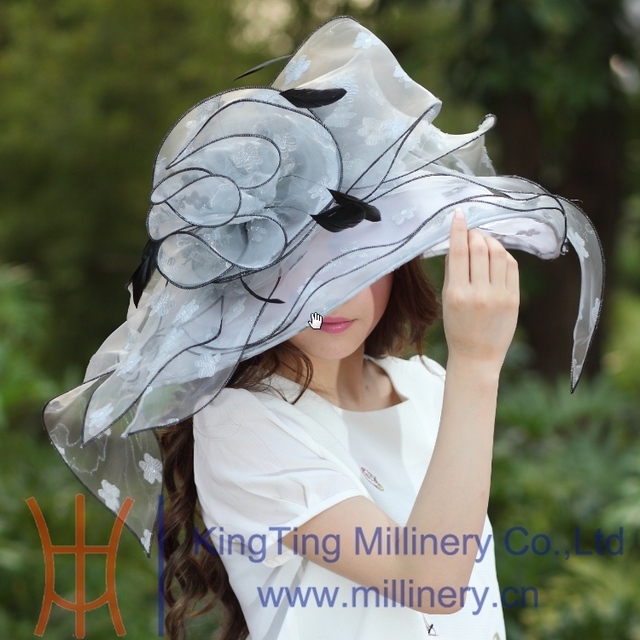 Free Shipping Fashion New Women Organza Hat Church Hat Wide Brim Ruffle Flower Fashion Dress Fancy Girl Wedding Dress Big Flower