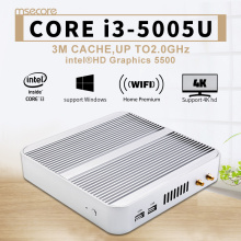 Intel Mini PC Core i3 5005U Windows 10 Desktop Computer Nettop NUC barebone system Fanless Broadwell HTPC HD5500 Graphics WiFi