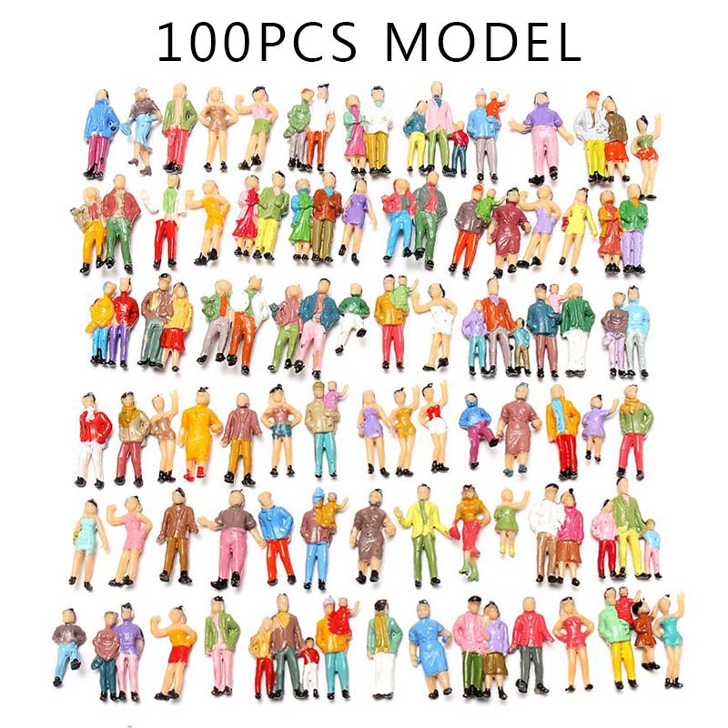50pcs O SCALE Painted People Model Trains Layout Seated Passengers Figures