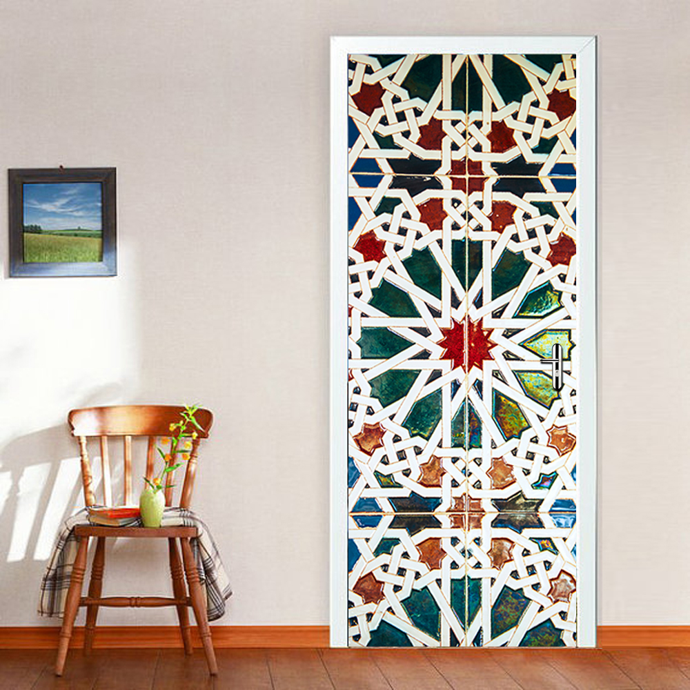 3D Wall Stick Vintage Kaleidoscope Glass Door Sticker Self Adhesive Wallpaper Removable Vinyl For Bathroom Livingroom Home Decor
