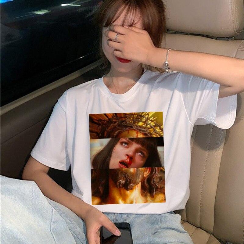 New Pulp Fiction Movie T Shirt Women Harajuku Ullzang 90s Korean T-shirt Aesthetic Funny Print Tshirt Graphic Top Tees Female 11
