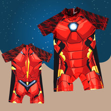 Boys Swimwear kids One Piece Swimsuit Iron Man Cartoon Zipper Rash Guard Child Bathing Suit Baby Surfing UPF 50+ Sport Beachwear(China)