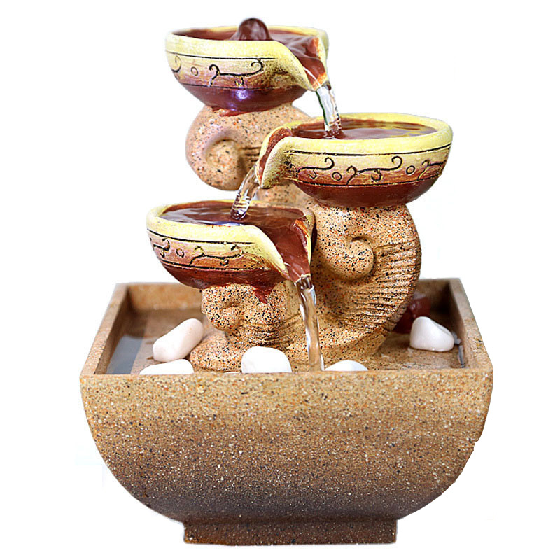 decorative indoor water fountains office desktop gift home decorations humidification artificial stones craft free shipping - Fountain For Home Decoration