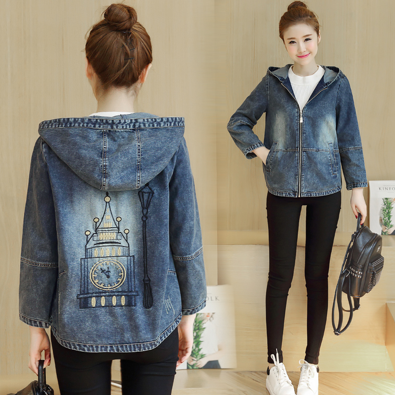 Newest Print Hooded Denim   Jacket   Coat Spring Autumn Women Nine Quqrter Sleeve Kawaii Blue Short Jeans   Basic     Jacket   L230