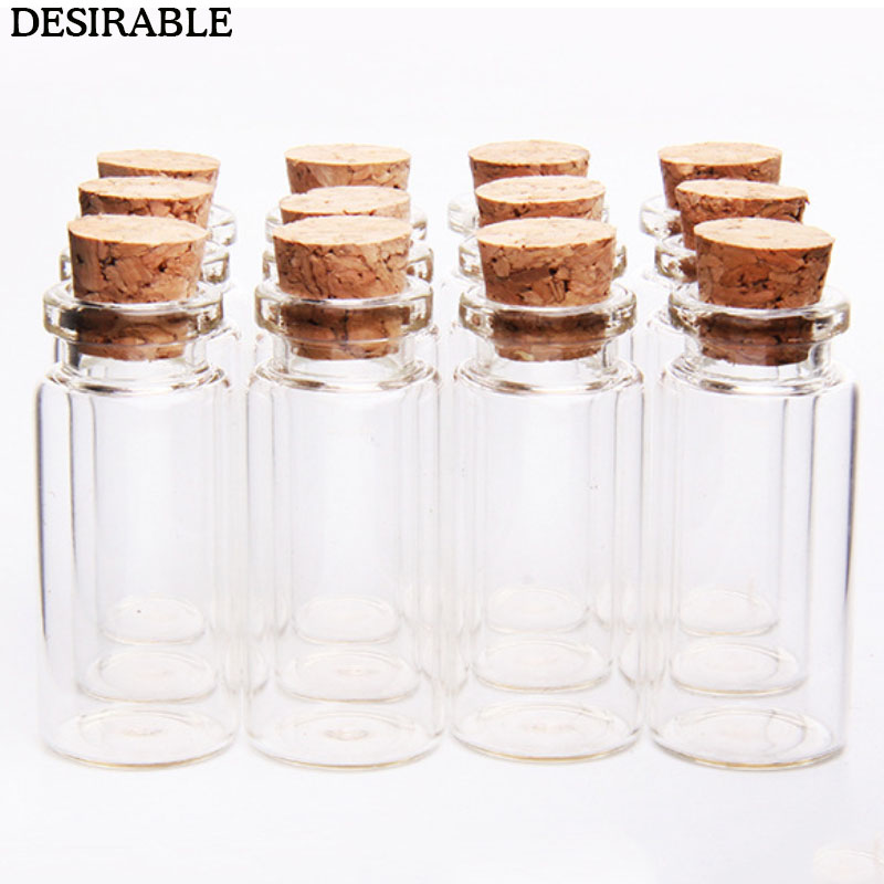 10Pcs 10ml  Wish Bottles Tiny Small Empty Clear Cork Glass Bottles Vials For  Holiday Wedding Home Decoration Christmas Gifts