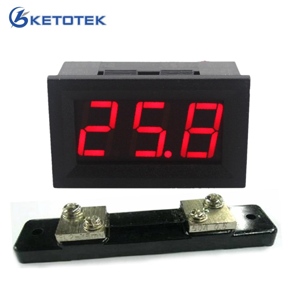 DC 0-50A ammeter amp panel ampere meter with 50A/75mV shunt resistor DC4.5-28V Power supply