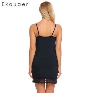 Image 3 - Ekouaer mujeres pijama con tirantes de encaje Camisón con cuello de V Trim camisón Chemise Slip ropa interior vestido de verano Sexy camisón para mujer