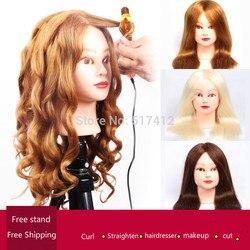 Cabeça de manequin profissional com 85% ouro cabelo humano para a prática do barbeiro penteado kappershoofd cabeleireiro boneca formação cabeça