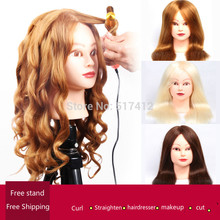 Professional Manequin head With 85% Gold Human Hair For Barber Practice Hairstyle Kappershoofd Hairdresser Doll Training Head