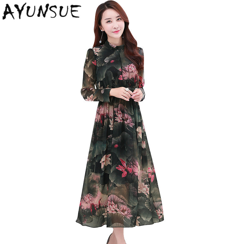 Retro Puff SLeeve Women Summer Dress 2017 Spring Long Sleeve Printing Floral Dress Chiffon Maxi Dresses Large Sizes 4XL FYY466 floral chiffon dress long sleeve