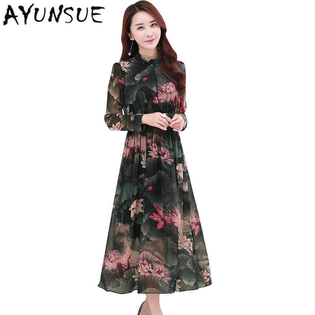 Retro Puff SLeeve Women Summer Dress 2018 Spring Long Sleeve Printing  Floral Dress Chiffon Maxi Dresses Large Sizes 4XL FYY466 6abd6909bd00