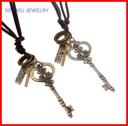 Pirate costume jewelry unique mens leather pendant necklacein