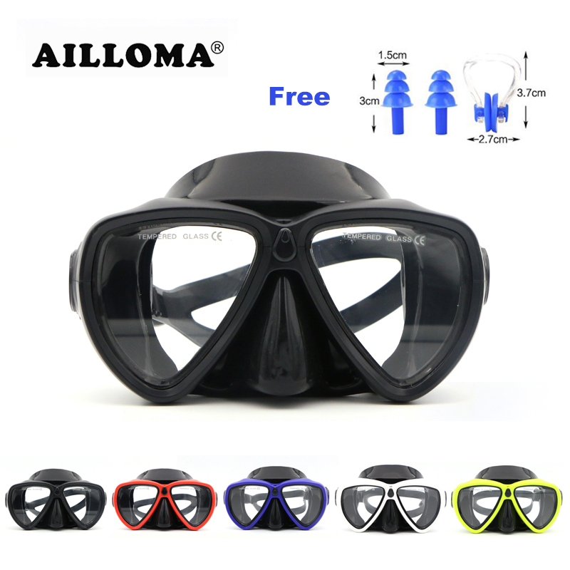 Best buy ) }}AILLOMA 5 Color Adult Professional Diving Masks Anti-fog Scuba Silicone Snorkeling