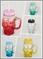 1 stks 401-500 ML/CC Kleurrijke Bierglas Schedel Flessen Met Deksel 17 oz Waterfles Koffiekopje Sap Cool Drink Jar Voor Party Bar