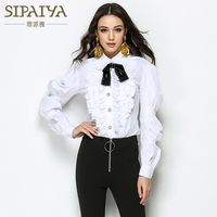 SIPAIYA 2017 Autumn Winter New Fashion Formal Blouse Womens Turn Down Collor Ruffles Office Ladies Blouse