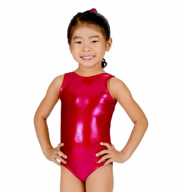 78ae14ba5046 Shiny Girls Gymnastics Leotard Child Tank Lycra Dance Unitard Kids Spandex  Metallic Ballet Leotard Toddler Dancewear Wet Look