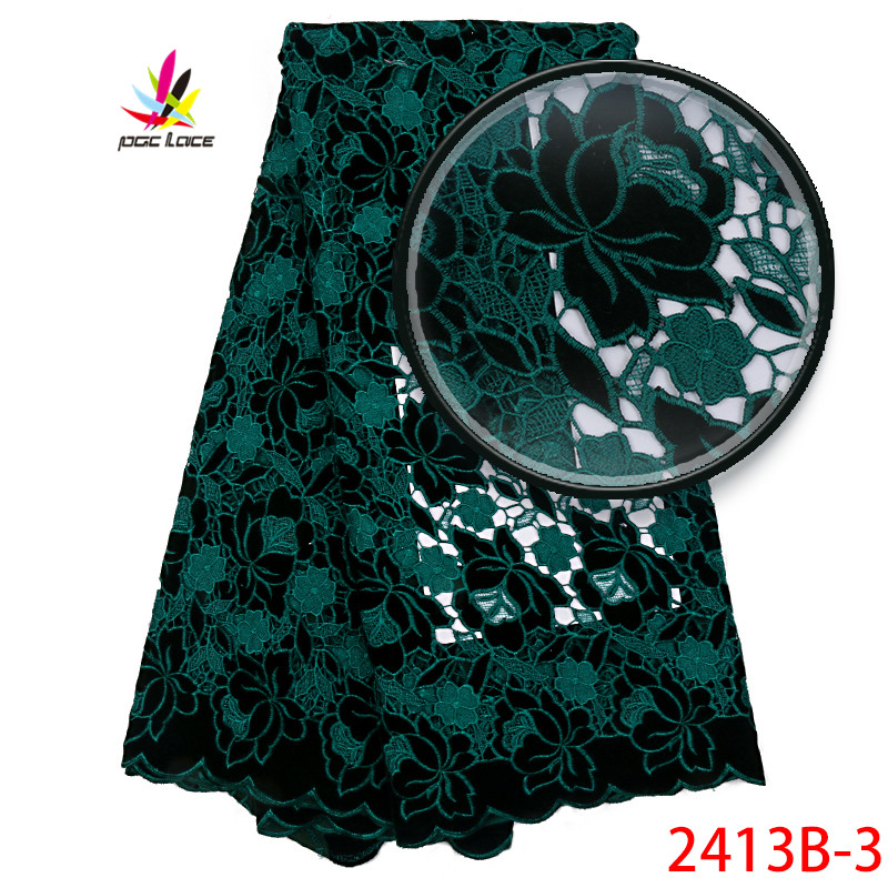 African Lace Fabric 2018 High Quality Lace Nigerian Tulle Lace Fabric Green French Net Lace For