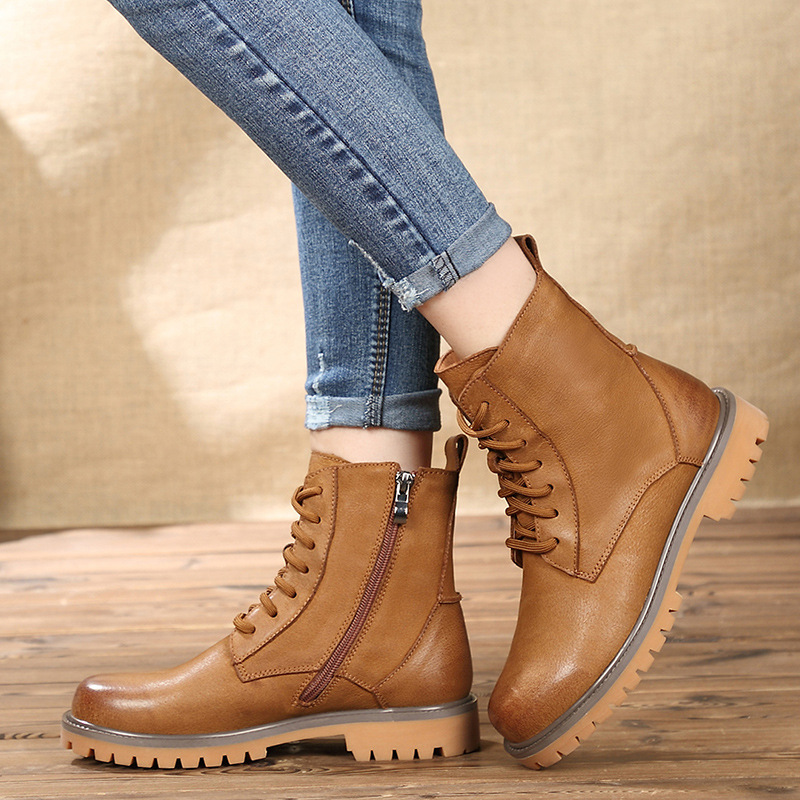 2018 autumn new Martin boots female leather center tube side zipper rubbing recreational retro boots women shoes women boots