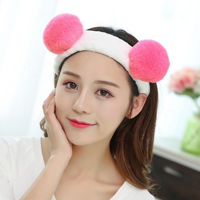 Cute Pom Furry Ears Fluffy Rabbit Fur Ball Women Headband Wide Elastic Hair  Band Beautiful Hair Accessories efe3eae0a3b