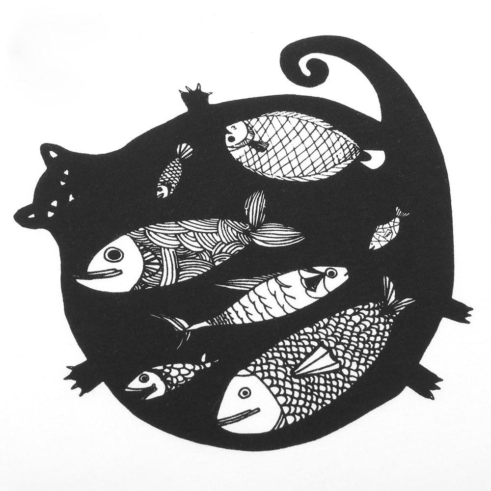 Детские хлопковые кот рыбы Комплекты для девочек для маленьких мальчиков Обувь для девочек одежда футболка с короткими рукавами полосатые ...