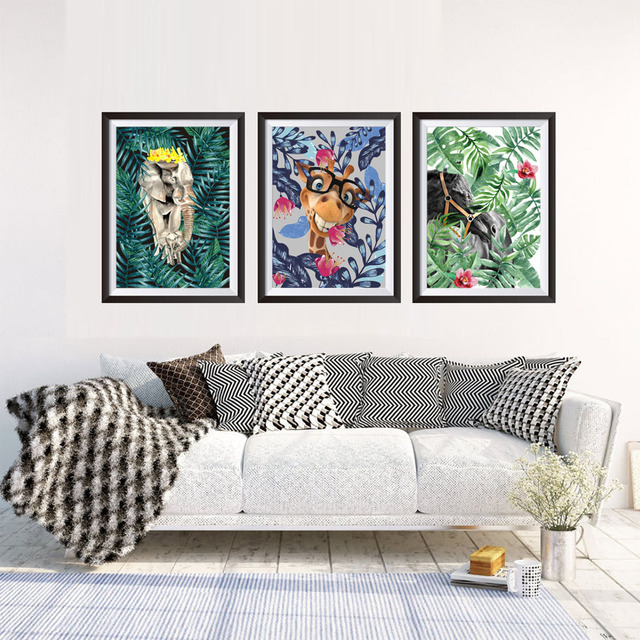 Frameless animal in jungle set unframed canvas paintings nordic home decor wall art print pictures poster