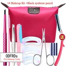 Комплект макияж карандаш Для Бровей + Пинцет + щетки + Триммер + Бровь формы + Косметические ножницы + лезвие + Сумка M2034