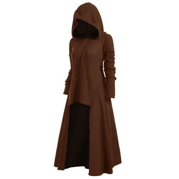 TryEverything Gothic Punk Jacket Women Black Hooded Plus size Winter 19 Coat Female Long Womens Jackets And Coats Clothing 6