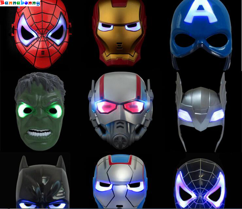 3PCS/Lot 9 styles Cosplay Mask Spider Man Mask With Led light Children Festival Iron Man mask for Masquerade Party red color