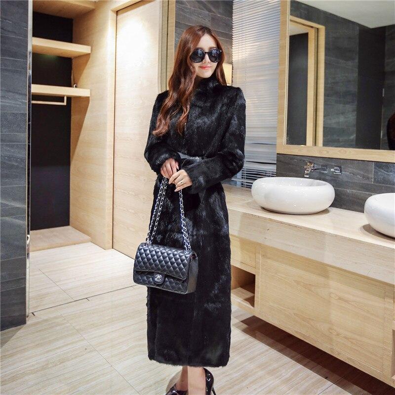 Femmes De Lapin Noir X Cm Naturelle Gt0130auk Plus Taille Automne Hiver Manteaux La Réel 2018 longue Vestes Montant Col 130 Fourrure qqRPwz0