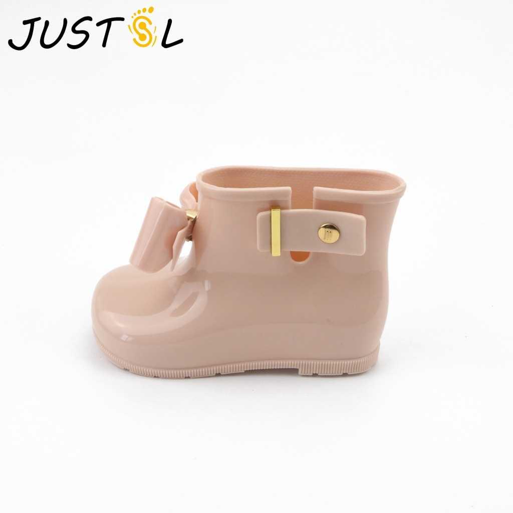 abcdb54b8 Justsl 2017 Модная Летняя распродажа дети лук прекрасный стиль обувь для  девочек Нескользящие резиновые сапоги Детская