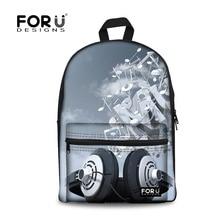 Forudesigns/женские рюкзак диджеев печати рюкзаки для девочек-подростков, проигрыватель Дизайн школьная сумка для мальчиков школьный