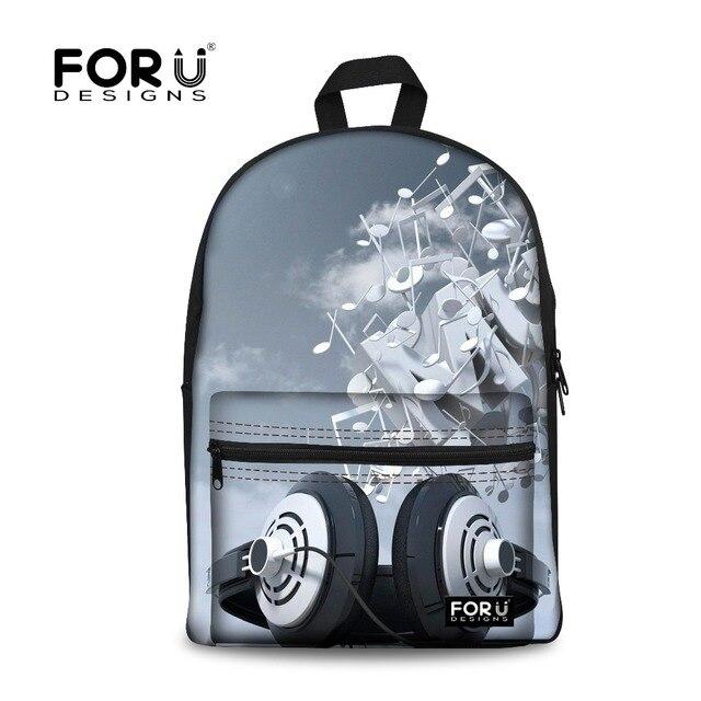 FORUDESIGNS Women Backpack DJ Music Printing Backpacks for Teenager Girls, Record Player Design School Bag for Boys Schoolbag
