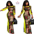 BRW Summer African Dresses for Women Party Bazin Riche Dress African Plus Size 6xl Wax Print Dashiki Cotton Dresses WY304