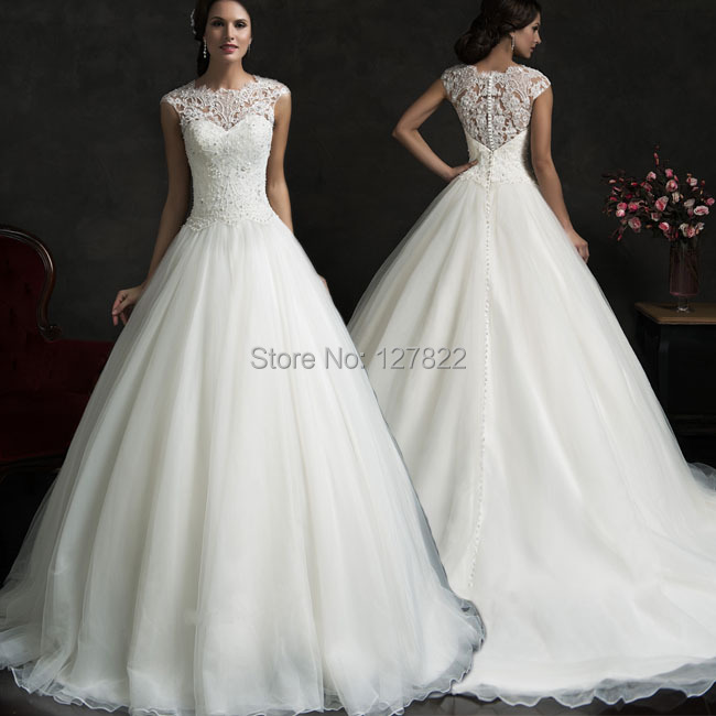 Vestido de noiva princessa renda 2015 vintage elegant lace for Country western wedding dresses