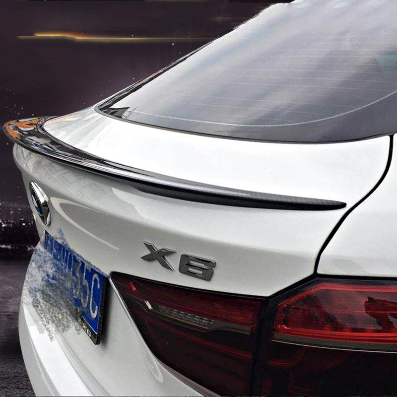 For BMW X6 F16 2015 2017 Rear Wing Spoiler Trunk Boot Wings Spoilers Carbon Fiber 3M Paste