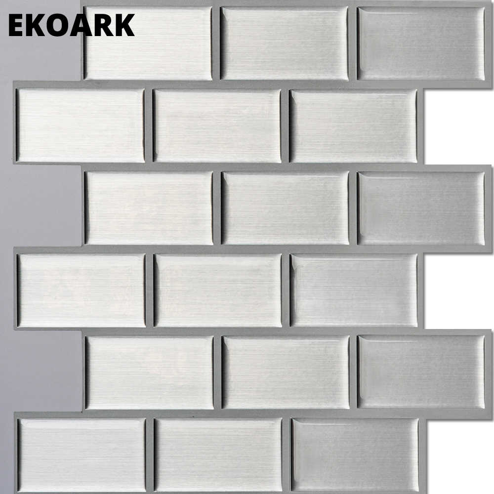 6 Pack/Lot 3D Wall sticker Heat Resistant/Waterproof wallpaper for kitchen/home/kids rooms decor Silver brick bathroom stickers
