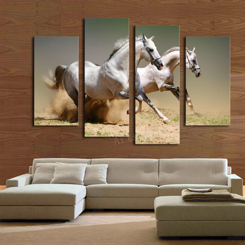 Aliexpress Com Buy 4 Panels Modern Printed Coffee Canvas: Hot Sale 4 Panels Running White Horse Large HD Picture