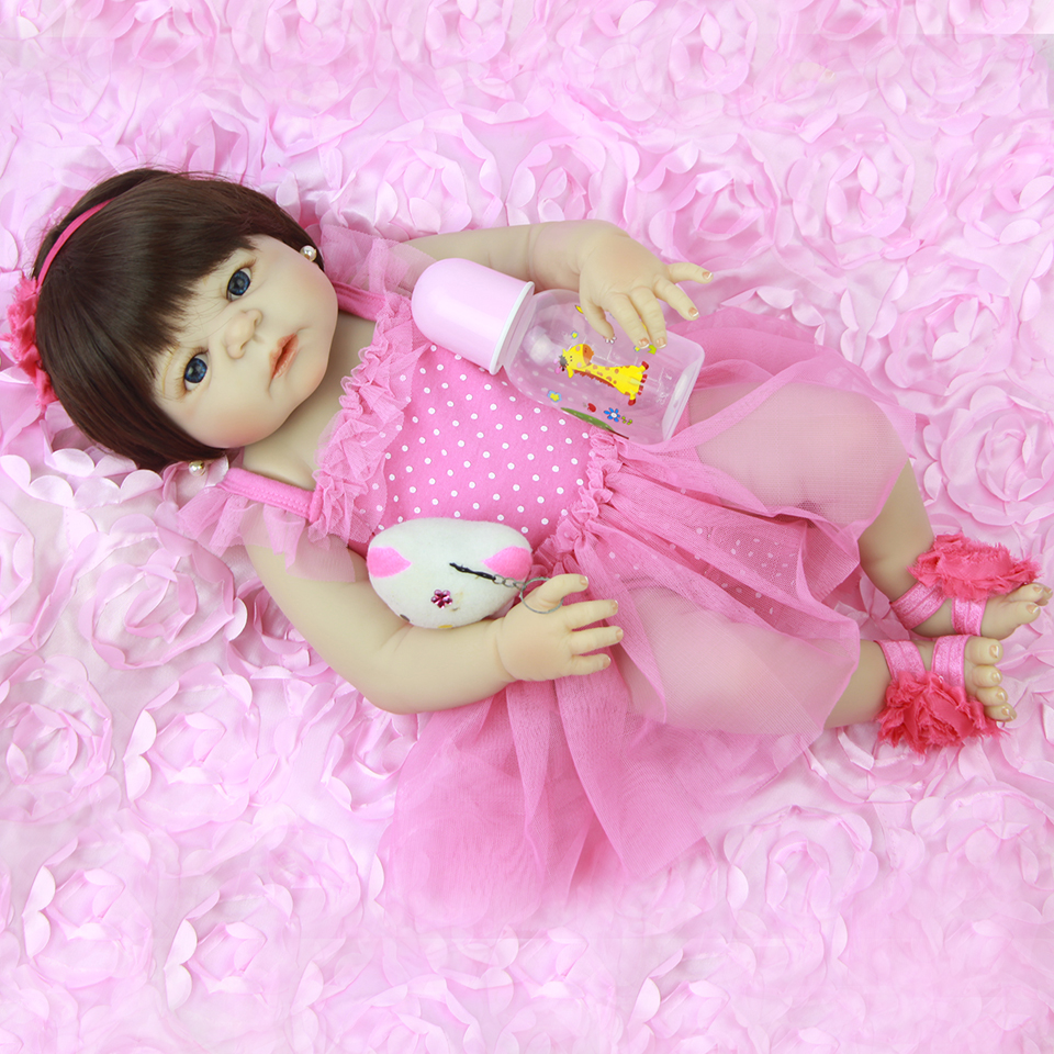 NPK Full Silicone Body 23'' Baby Doll Toys For Girl Lifelike Babies Reborn Doll Real Princess Wear Pink Dress For Children Gift lifelike american 18 inches girl doll prices toy for children vinyl princess doll toys girl newest design