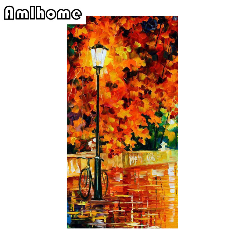 AMLHOME Rhinestones Cross Stitch New 3d Diy Diamond Painting Oil Painting Landscape Cross Stitch Mosaic Embroidery Home Decor