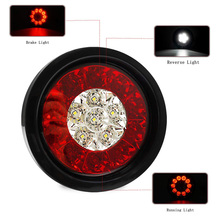 12/24V Round Stop Brake Tail Light 16 Led Reverse Lamp Truck Trailer SUV Lorry Caravan Bus Boats with Rubber Grommet Red &Clear