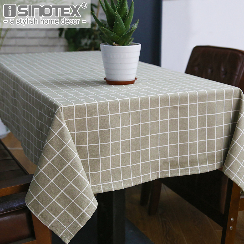 Sytlish Linen Table Cloth Country Style Plaid Print Multifunctional Rectangle Cover Tablecloth Home Kitchen Decoration