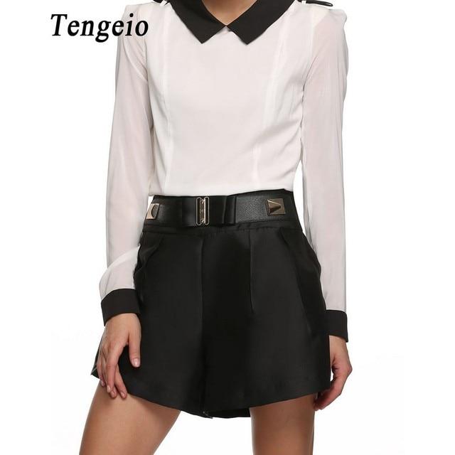 Summer shorts Women Ladies Casual Black High Waist Shorts New Fashion Fake Belt Zipper Back Loose Short cintura alta Femme 6YC