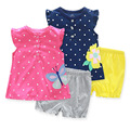 Baby set girl cotton summer clothes set 2 pcs  t-shirt + long pants sets fashion baby girl suit baby clothes