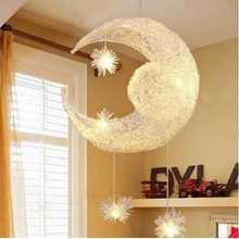Buy kids pendant lights and get free shipping on aliexpress lukloy knitting aluminum wire moon and stars pendant light kids bedroom living room bedside over table keyboard keysfo Gallery
